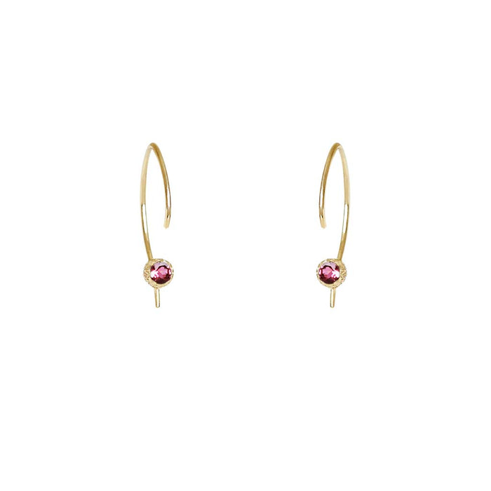 Star Dust Pink Tourmaline Hoops - James & Irisa Jewellery