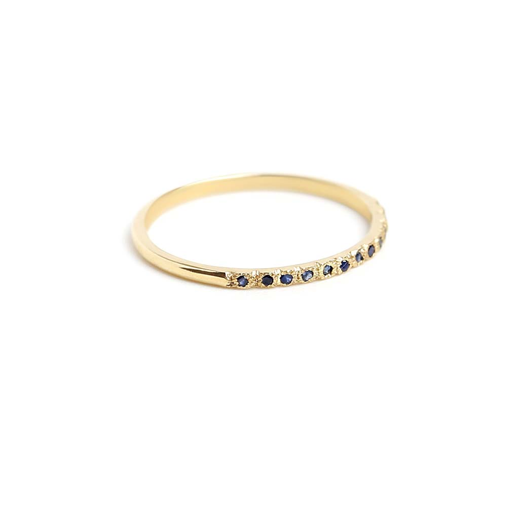 Textured Blue Sapphire Band Ring - James & Irisa Jewellery
