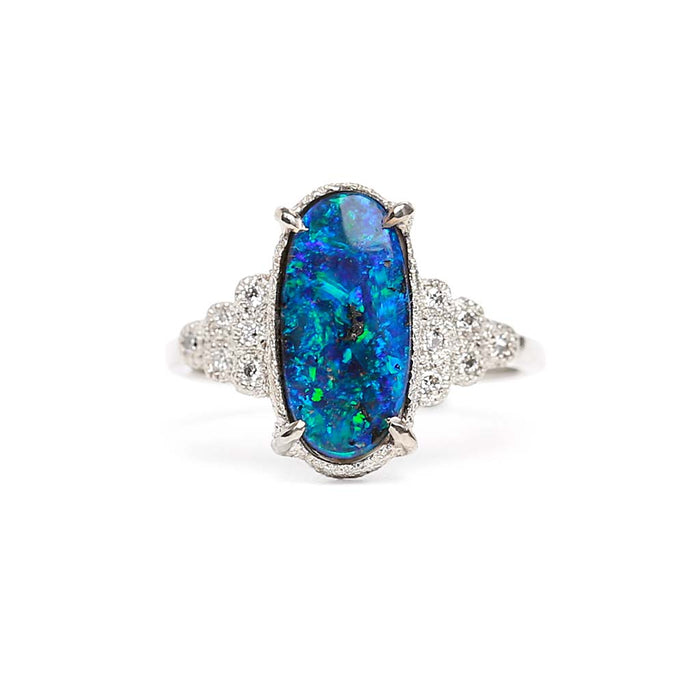 Star Deco Boulder Opal Ring