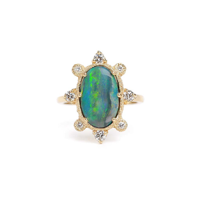 Sunray Black Opal Ring