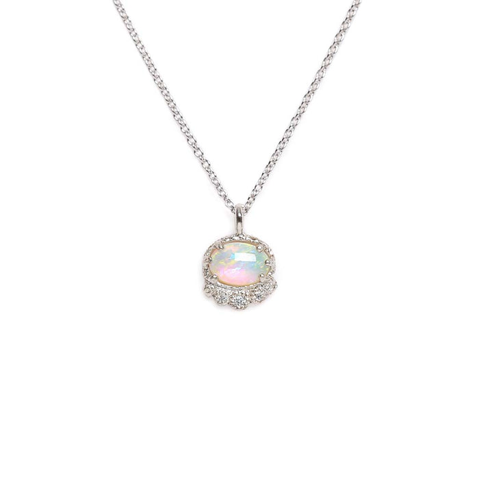 Tiara Opal Diamond Necklace (WG)