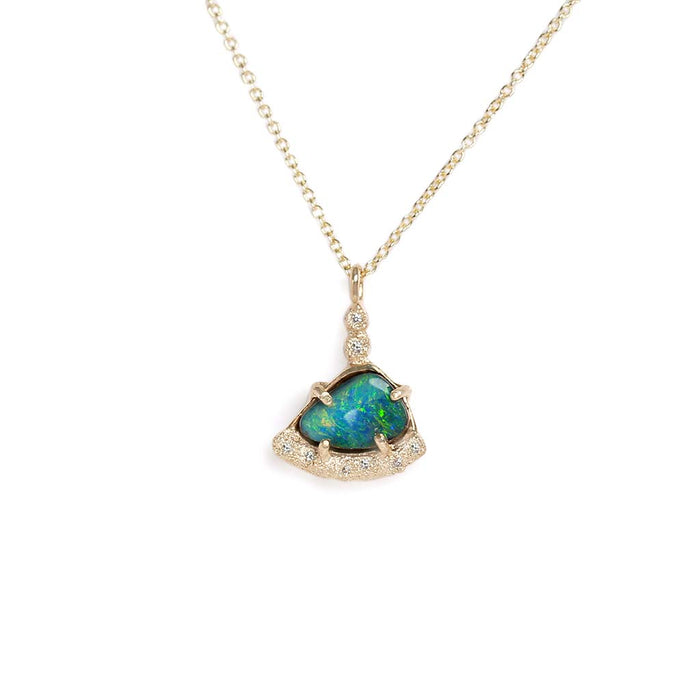 Galaxy Boulder Opal Diamond Necklace
