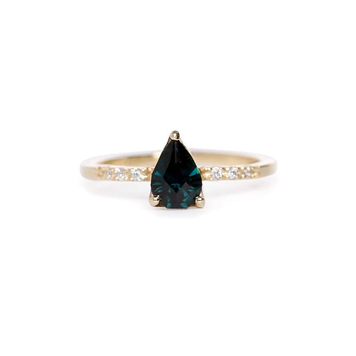 Pear Teal Sapphire Solitaire Ring