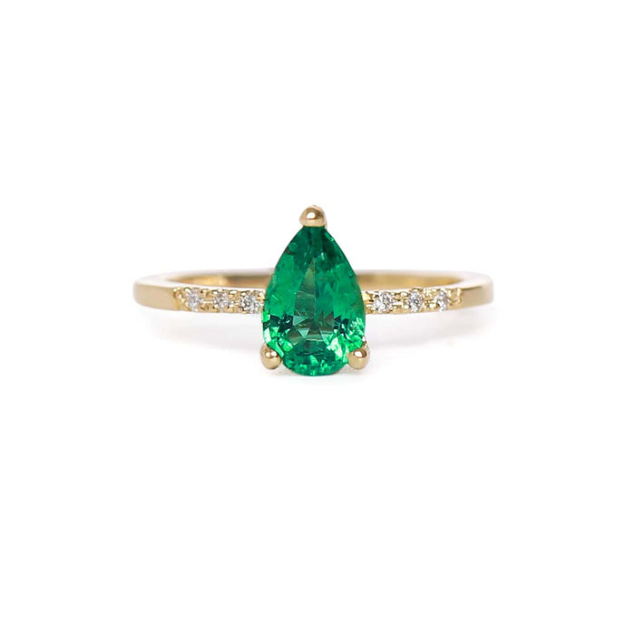 Pear Emerald Solitaire Ring