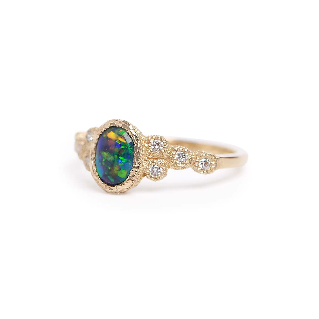 Harlequin Black Opal Meteorite Ring