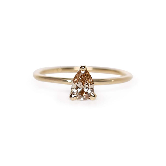 Pear Champagne Diamond Solitaire Ring