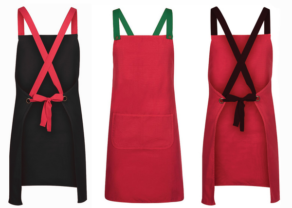 Red Aprons with contrasting custom straps