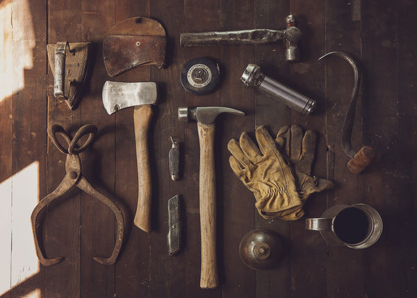 tools, carpentry, woodwork, wood, axe, hammer, clamps, old tools, mens work, mens lifestyle, blog, lifestyle blog, jack dusty clothing, gloves, tradesman, forgotten fundamentals