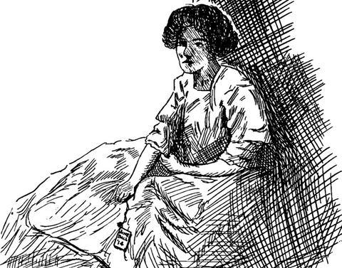 SKetch of the woman in the corner