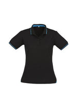 Load image into Gallery viewer, Black/Cyan / 8 Ladies Jet Polo