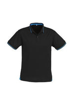 Load image into Gallery viewer, Black/Cyan / S Mens Jet Polo
