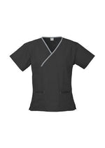 Load image into Gallery viewer, Black/Pewter / XS Ladies Contrast Crossover Scrubs Top