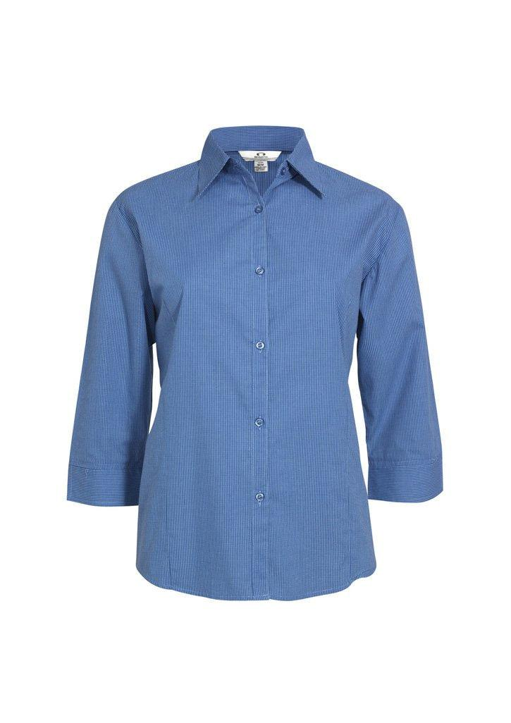 Mid Blue / 8 Ladies Micro Check 3/4 Sleeve Shirt