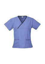Load image into Gallery viewer, Mid Blue/Navy / XS Ladies Contrast Crossover Scrubs Top