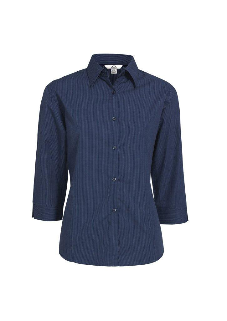 Navy / 8 Ladies Micro Check 3/4 Sleeve Shirt