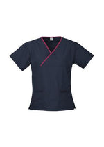 Load image into Gallery viewer, Navy/Fuchsia / XS Ladies Contrast Crossover Scrubs Top