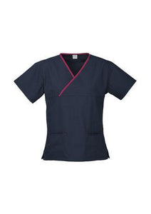 Navy/Fuchsia / XS Ladies Contrast Crossover Scrubs Top