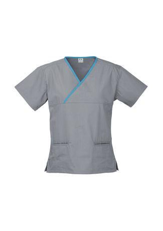 Pewter/Aqua / XS Ladies Contrast Crossover Scrubs Top