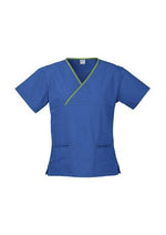 Load image into Gallery viewer, Royal/Lime / XS Ladies Contrast Crossover Scrubs Top