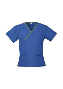 Royal/Lime / XS Ladies Contrast Crossover Scrubs Top