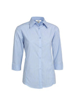 Load image into Gallery viewer, Sky / 8 Ladies Micro Check 3/4 Sleeve Shirt
