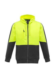 Yellow/Charcoal / XXS Unisex Hi Vis Full Zip Hoodie