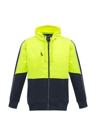 Yellow/Navy / XXS Unisex Hi Vis Full Zip Hoodie
