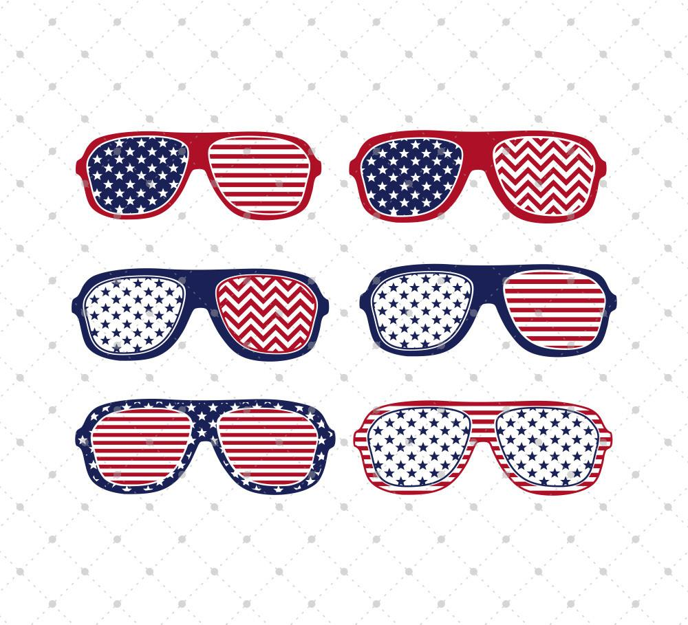 4th of July Glasses SVG Cut Files - SVG DXF PNG cut cutting files for Cricut and Silhouette by SVG Cut Studio