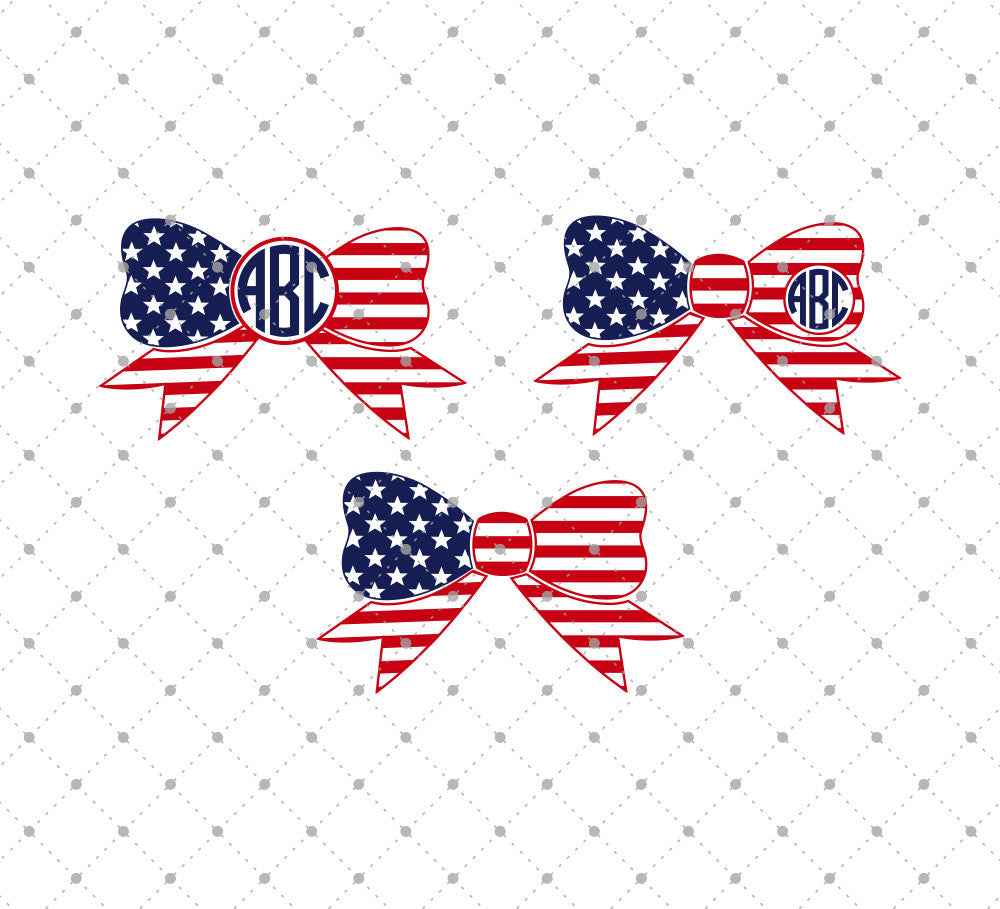 SVG files for Cricut 4th of July Bows SVG Cut Files Silhouette Studio3 files PNG clipart free svg by SVG Cut Studio