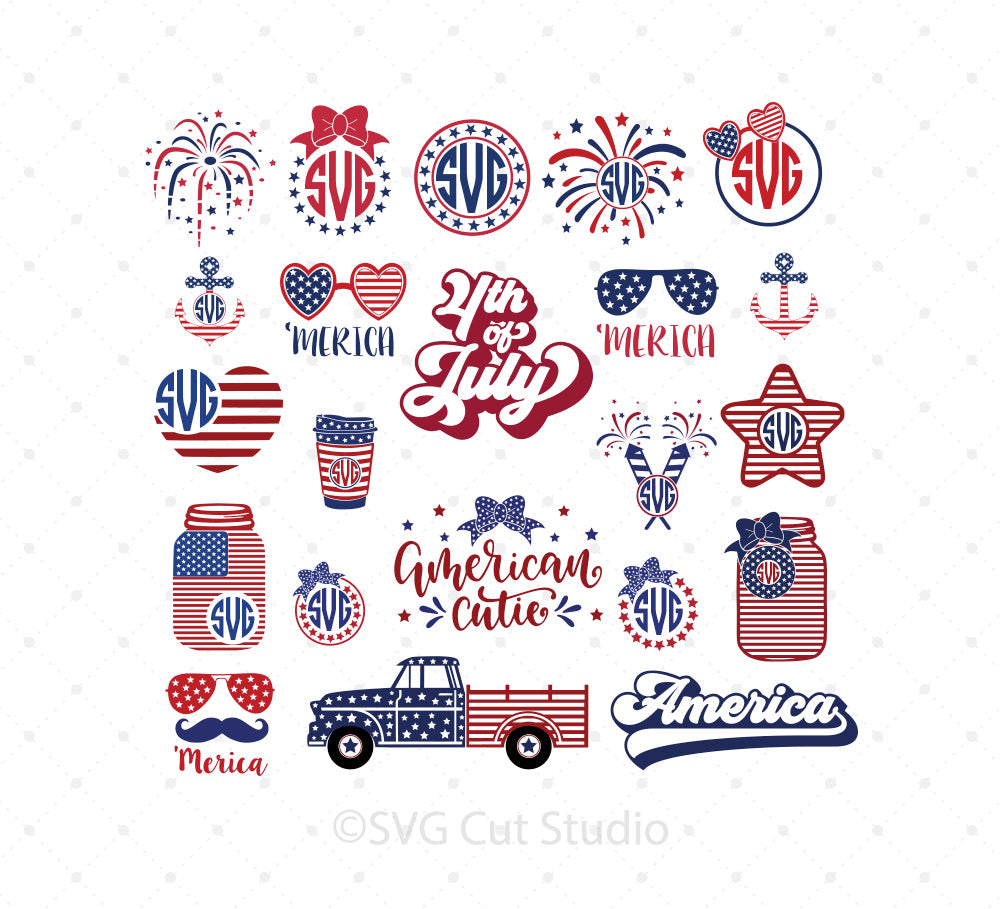 4th of July SVG Mini Bundle for Cricut Silhouette printable png dxf clipart and free svg files by SVG Cut Studio