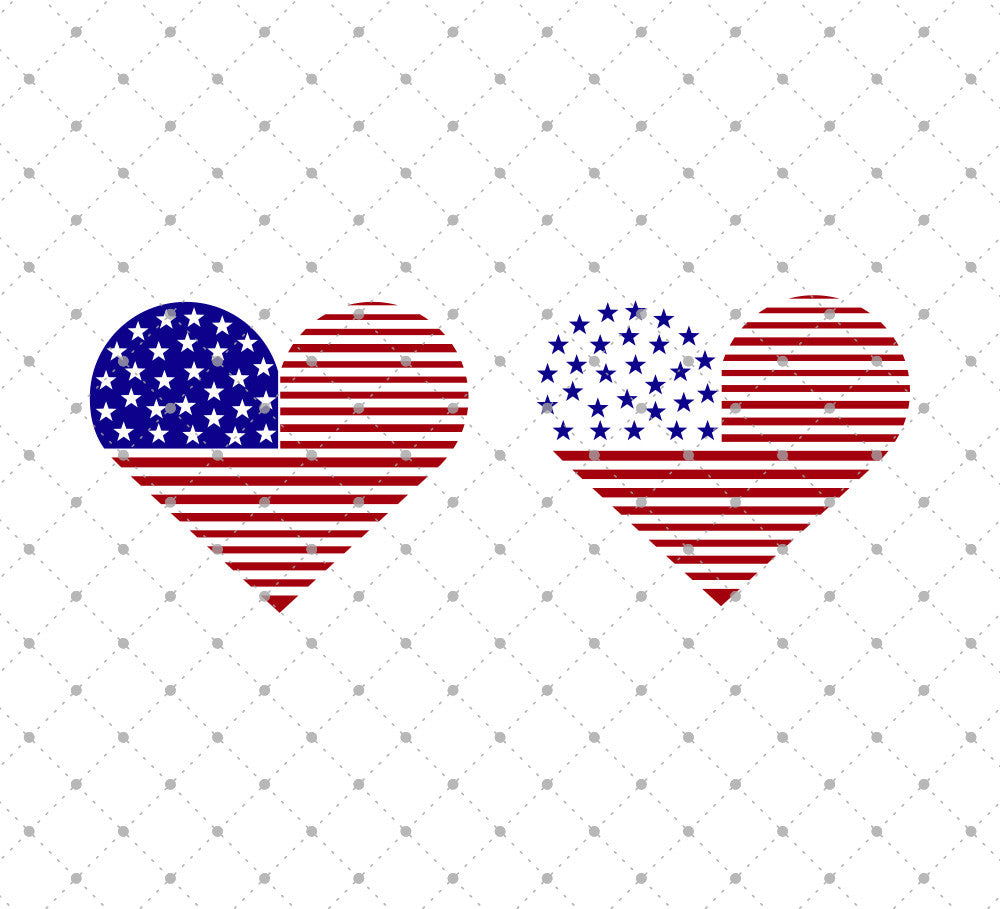 American Flag Heart SVG Cut Files