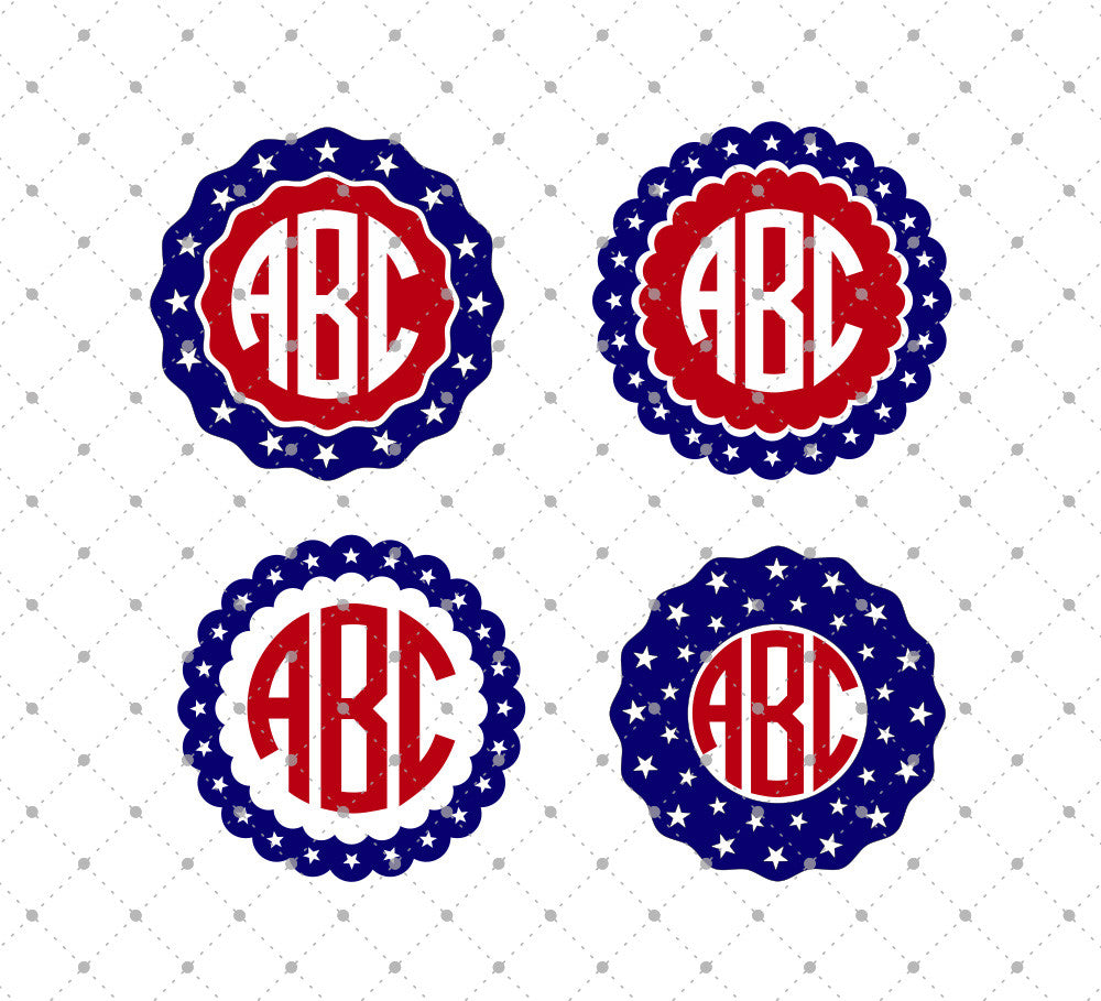 4th of July Monogram Frames SVG Cut Files for Cricut Silhouette printable png dxf clipart and free svg files by SVG Cut Studio