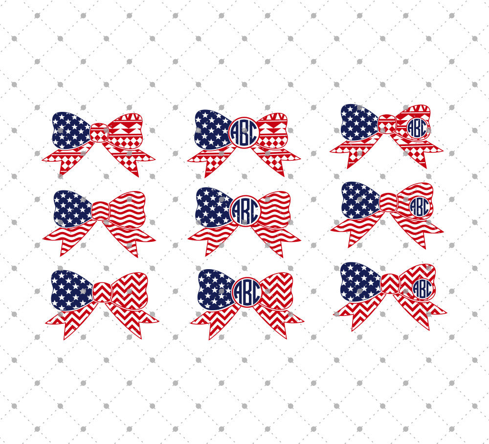 4th of July Patterned Bow Monogram Frames SVG Cut Files - SVG DXF PNG cut cutting files for Cricut and Silhouette by SVG Cut Studio