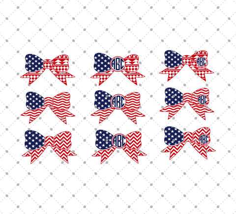 4th of July Patterned Bow Monogram Frames SVG Cut Files at SVG Cut Studio
