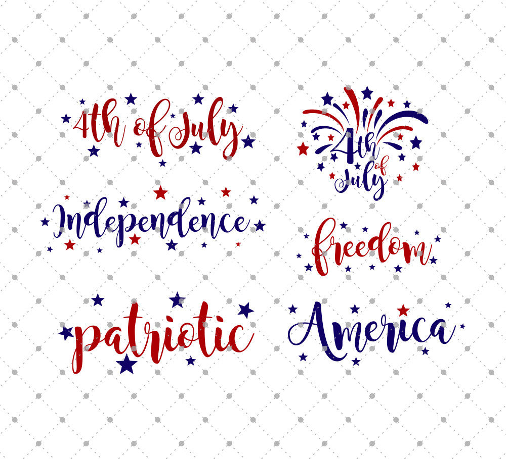 4th of July Words SVG Cut Files for Cricut Silhouette printable png dxf clipart and free svg files by SVG Cut Studio