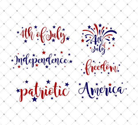 4th of July Words SVG Cut Files - SVG Cut Studio