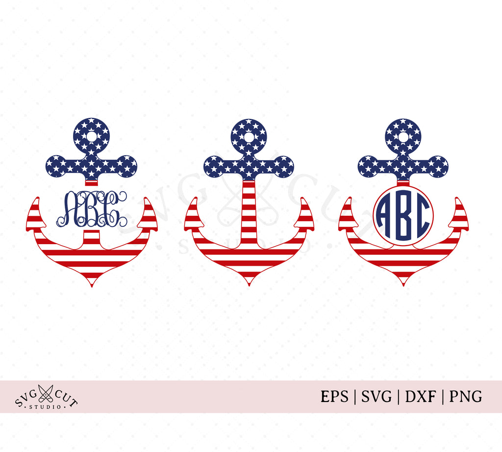 4th of July Anchor SVG Cut Files