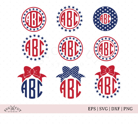 4th of July Monogram Frames SVG Cut Files