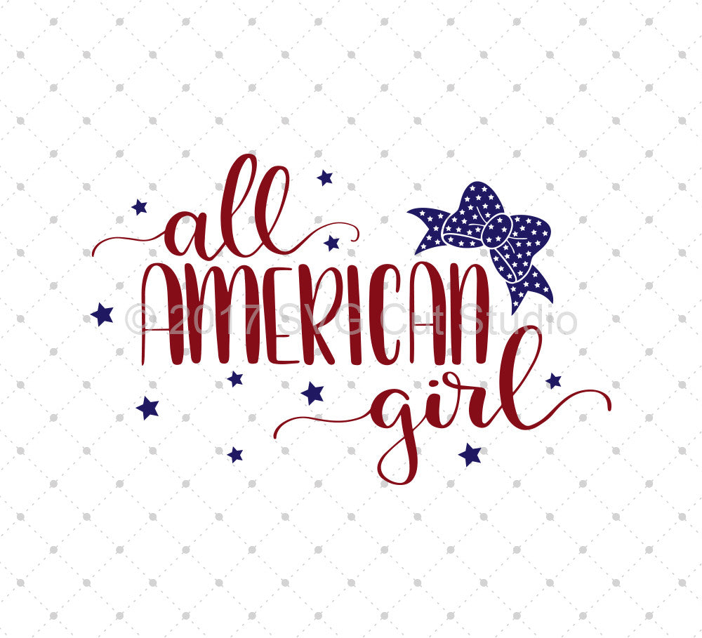 SVG files for Cricut All American Girl SVG Cut Files Silhouette Studio3 files PNG clipart free svg by SVG Cut Studio