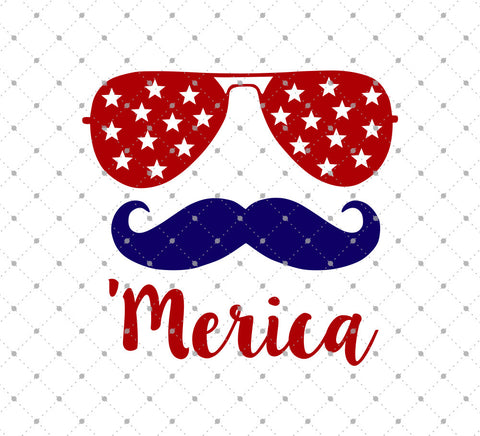Moustache 'Merica 4th of July SVG Cut Files at SVG Cut Studio