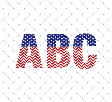 63815db08984 American Flag Chevron Pattern Font Letters SVG PNG DXF Cut Files ...