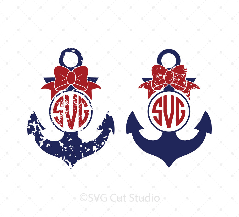 Anchor Monogram Frame SVG PNG DXF Files For Cricut And