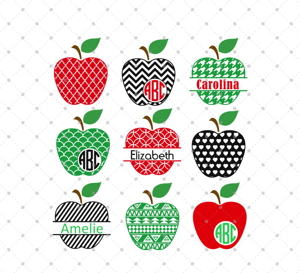 Patterned Apple Monogram Frames SVG Cut Files
