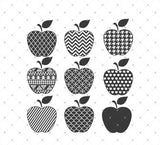 Patterned Apple Monogram Frames SVG Cut Files for Cricut Silhouette printable png dxf clipart and free svg files by SVG Cut Studio