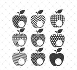 Patterned Apple Monogram Frames SVG Cut Files at SVG Cut Studio