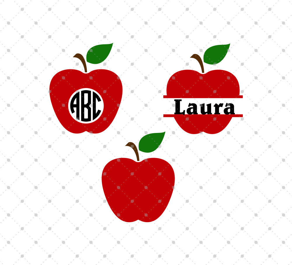 SVG files for Cricut Apple Monogram Frames SVG Cut Files Silhouette Studio3 files PNG clipart free svg by SVG Cut Studio