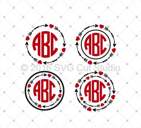 Arrow Monogram Frames SVG Cut Files D3