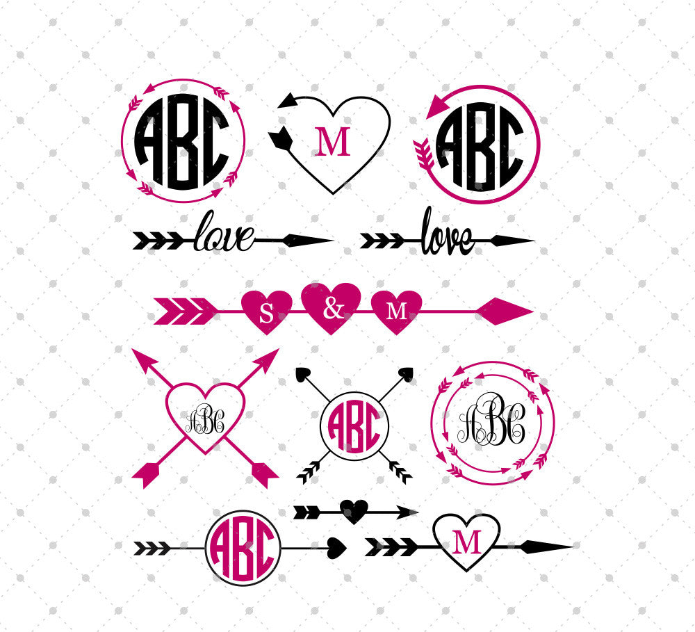 SVG files for Cricut Arrow Monogram Frames SVG Cut Files Silhouette Studio3 files PNG clipart free svg by SVG Cut Studio