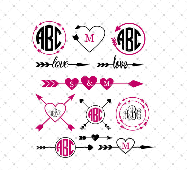 Svg Cut Files For Cricut And Silhouette Arrow Monogram