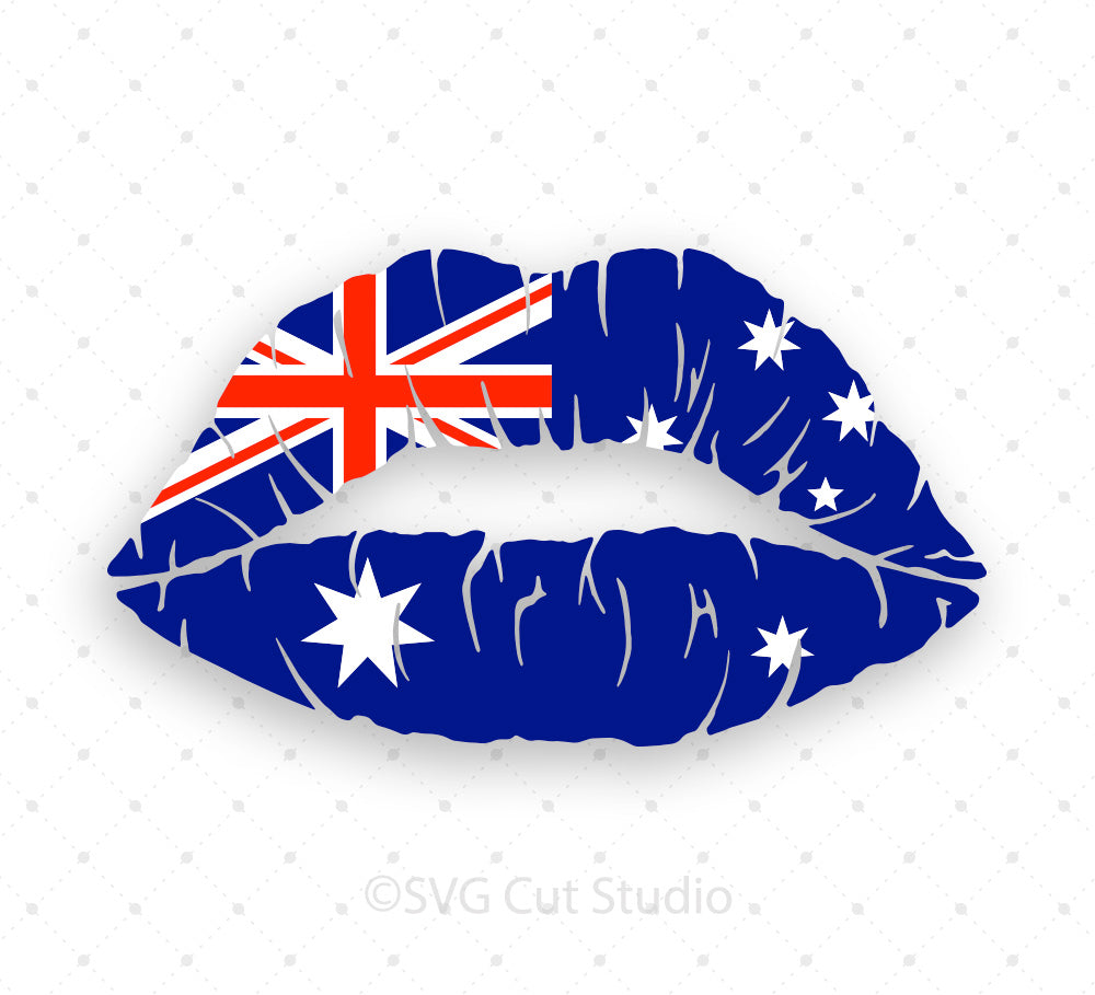 SVG files for Cricut Australian Flag Girl Lips SVG PNG DXF EPS Cut Files Silhouette Studio3 files PNG clipart free svg by SVG Cut Studio